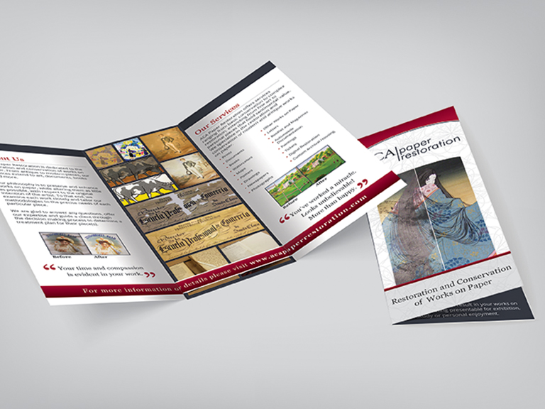 ACA Paper Restoration marketing brochure design