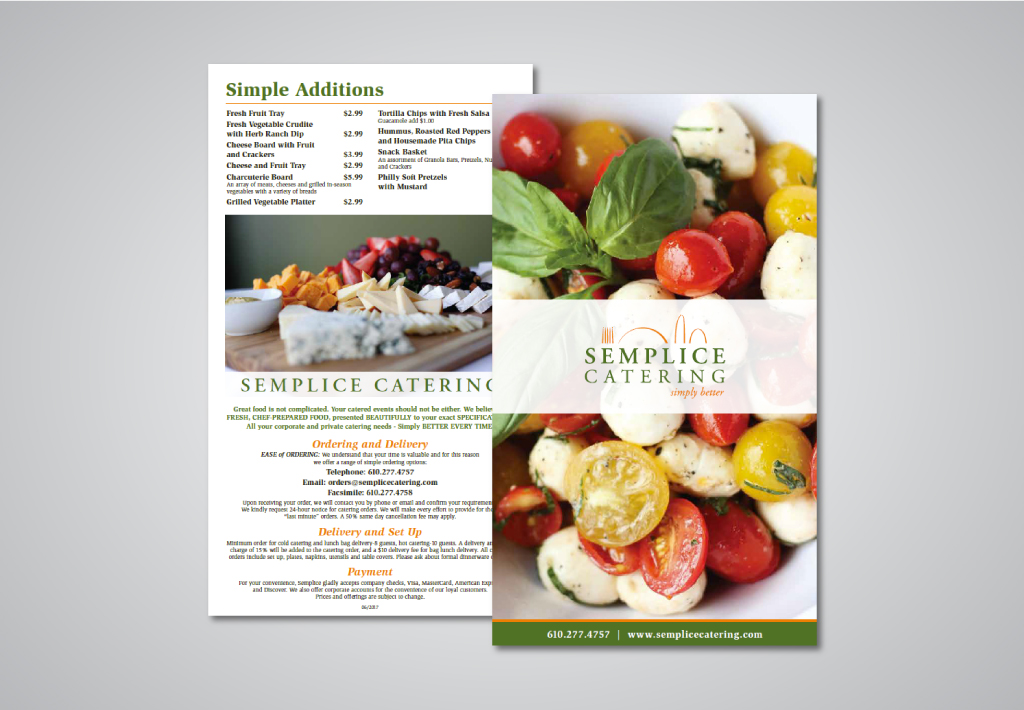 Semplice Catering menu design