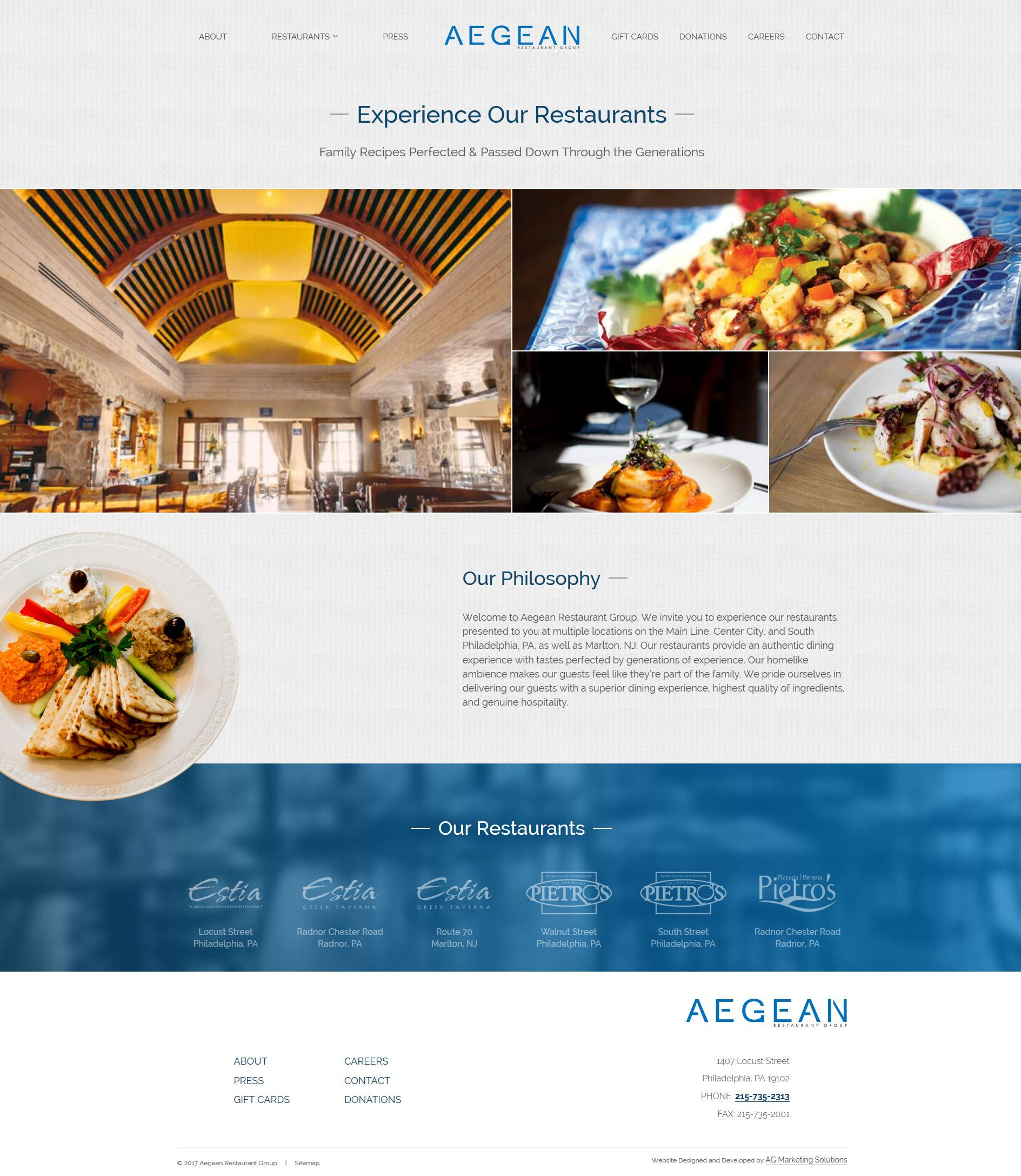 Aegean Restaurant Group responsive website on a phone
