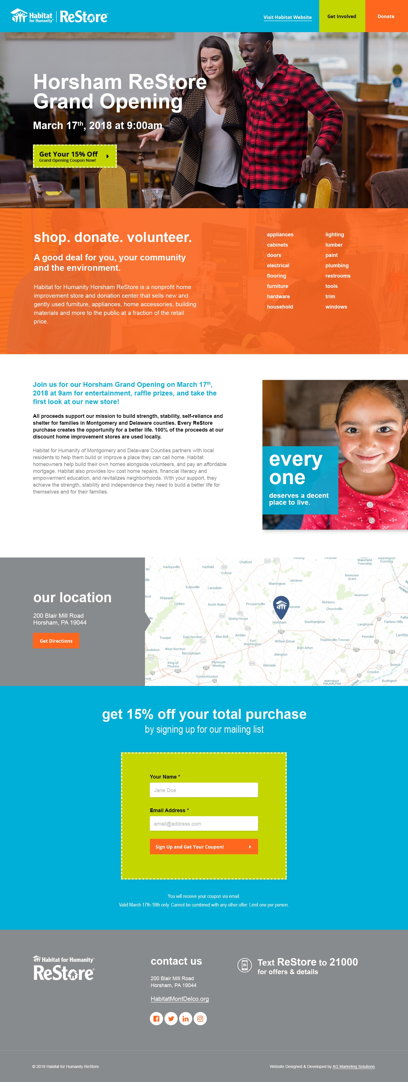Habitat for Humanity responsive website design on a laptop