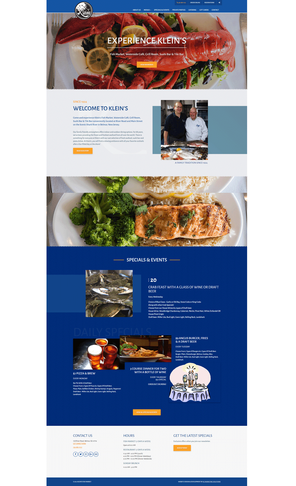 Klein's Fish Market responsive website on a phone