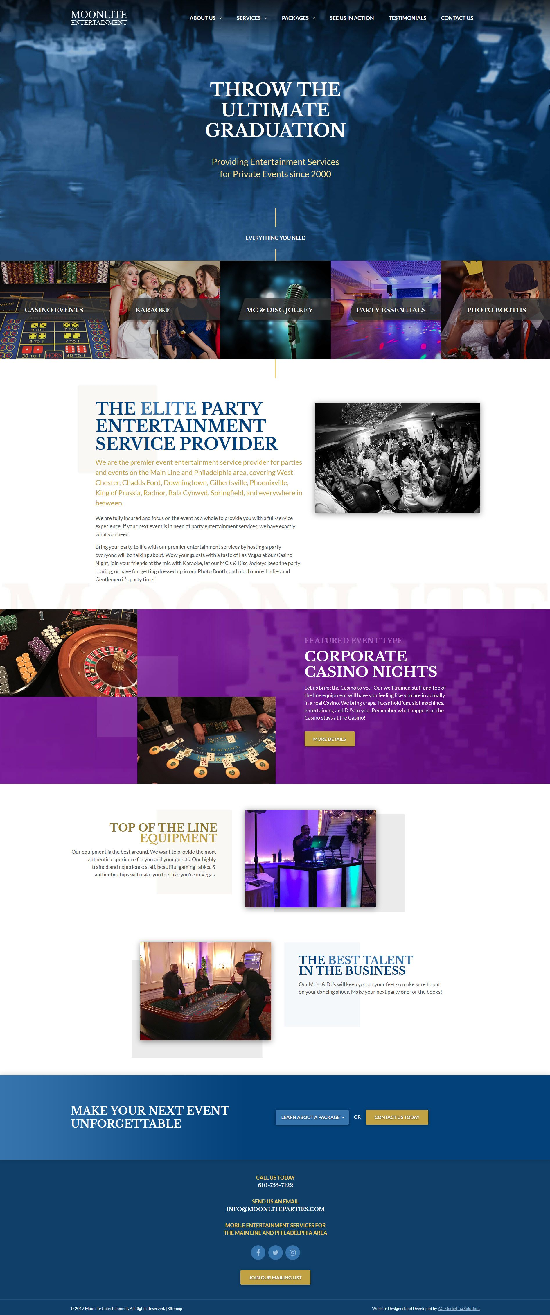 Moonlite Entertainment responsive website on a phone