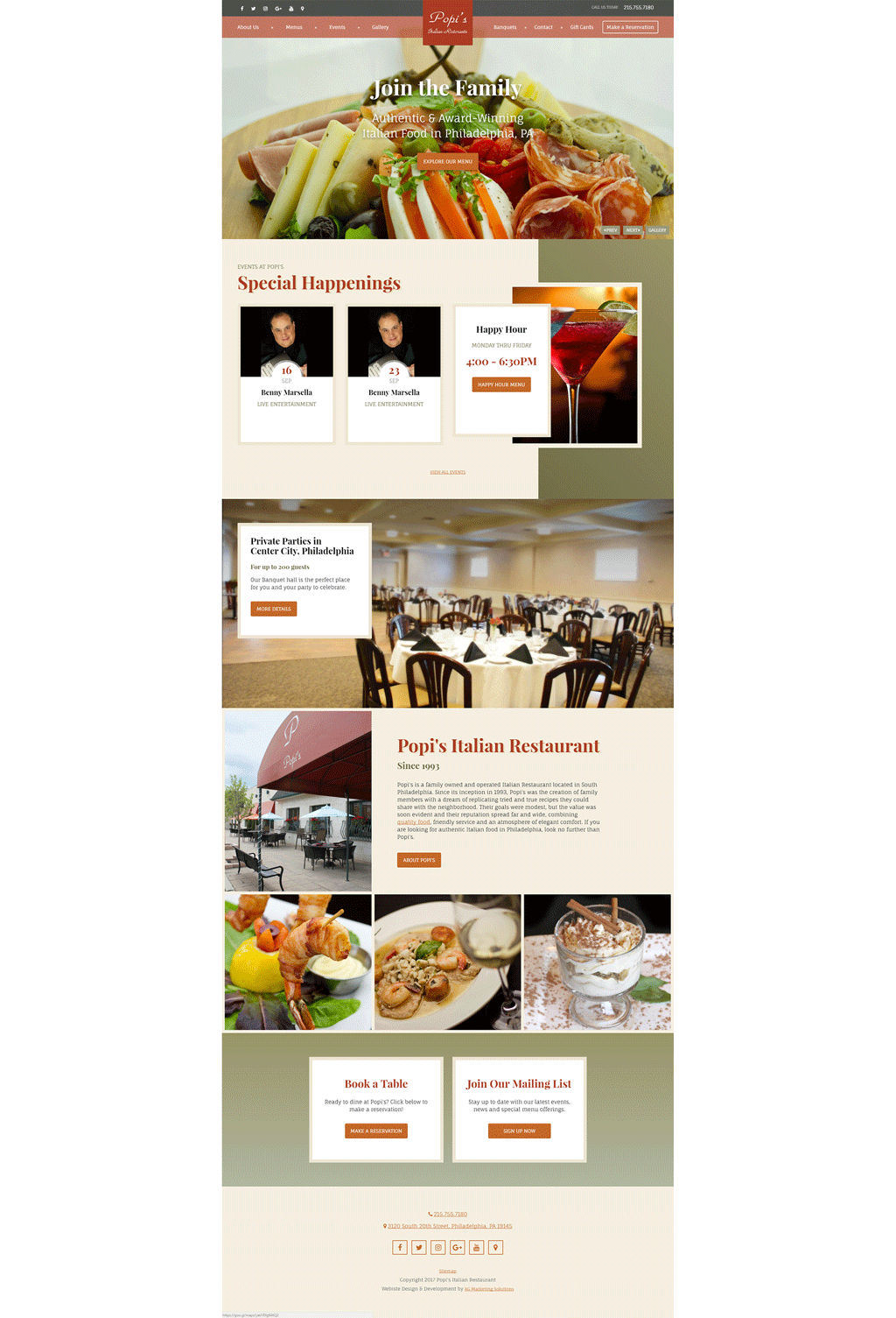 Popi's Restaurant responsive website on a desktop computer