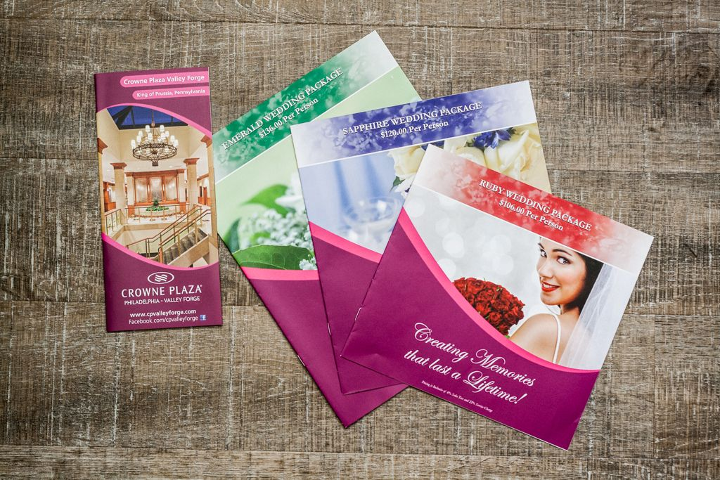 Crowne Plaza Valley Forge printed wedding package brochures