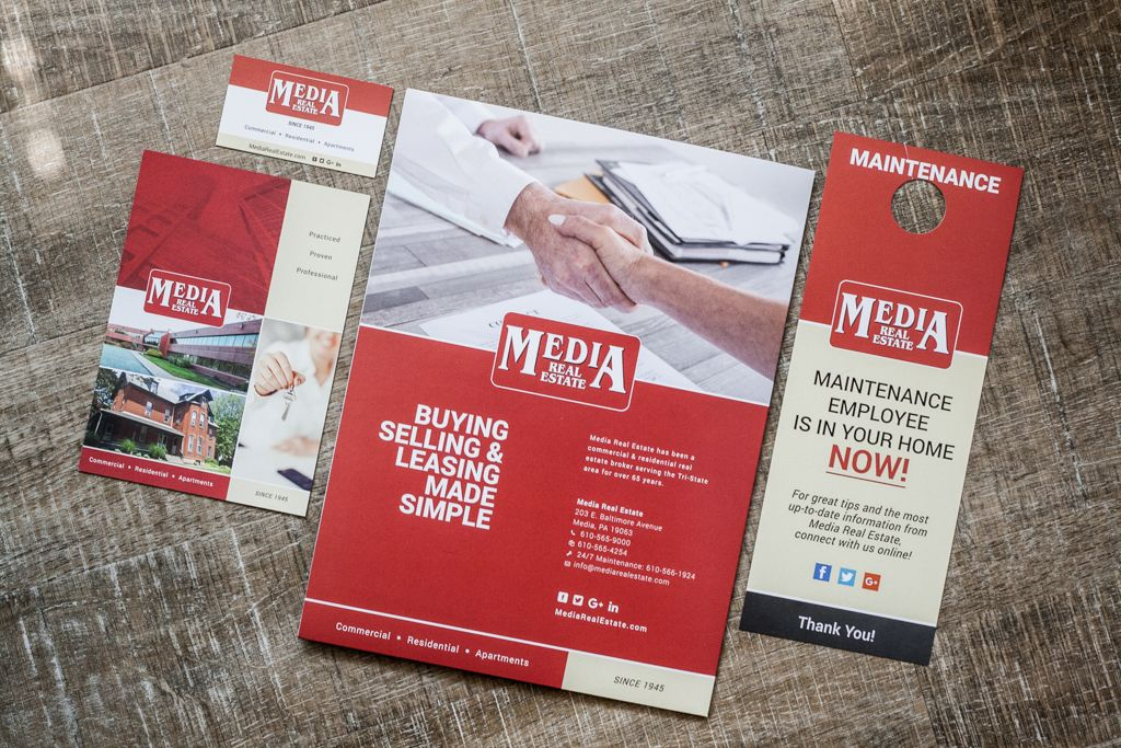 Media Real Estate printed collateral