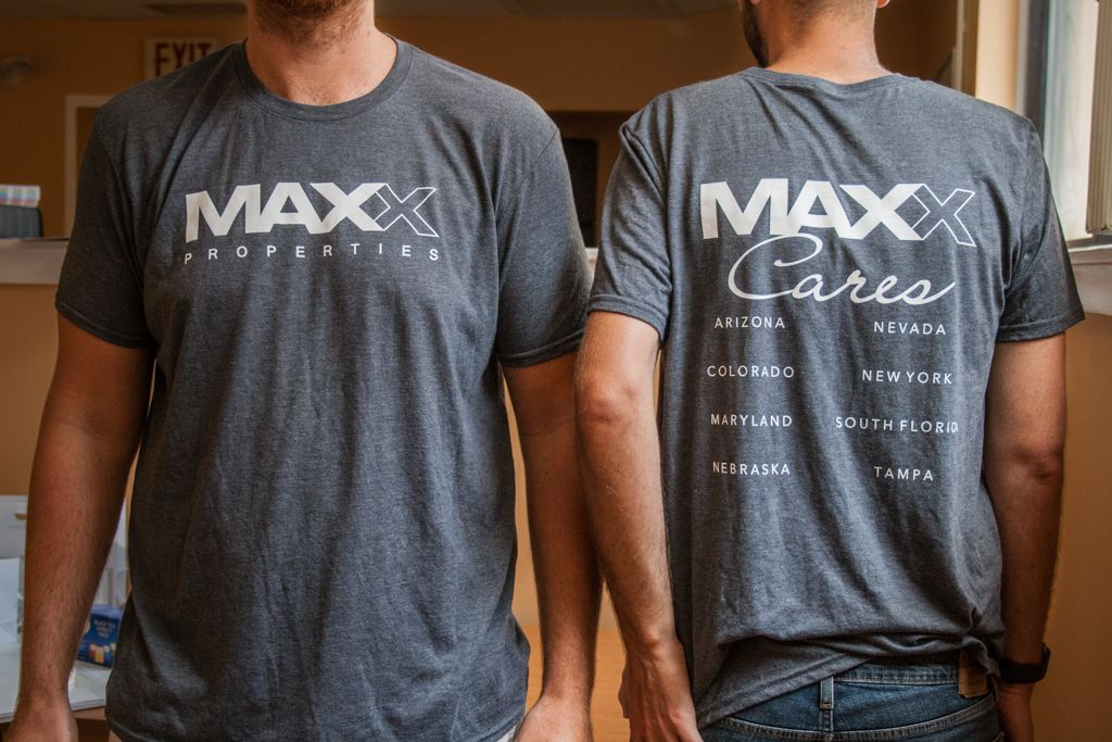 MAXX Properties soft t-shirts with custom silk-screening