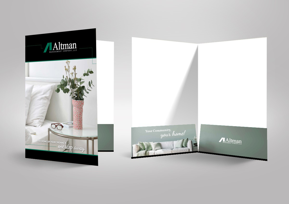 Printed folder for marketing collateral