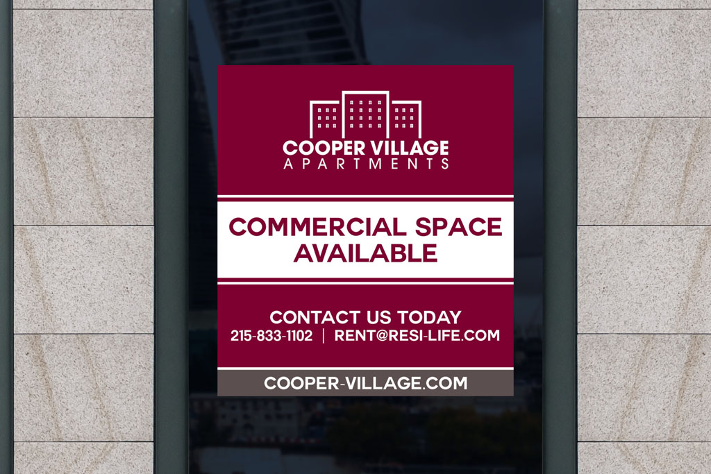 Cooper Village Apartmnets window decal